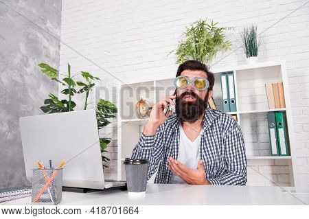 Your Call Is Important. Bearded Man Make Phone Call. Phone Conversation. Mobile Communication. Moder