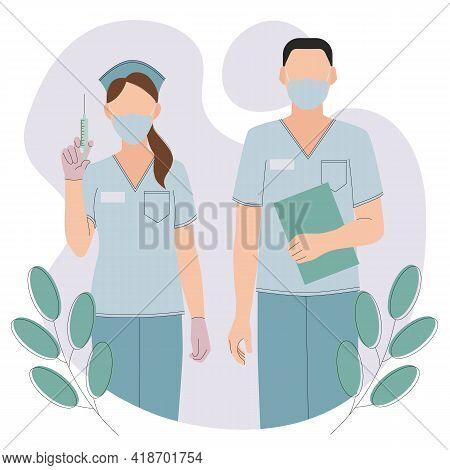 International Nurses Day. Vector Flat Illustration For Doctors Day Or Nursing Day. Cartoon Medical S