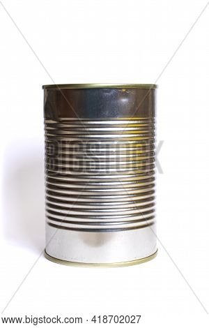 Metal Jar With Canned Food Isolated On A White Background
