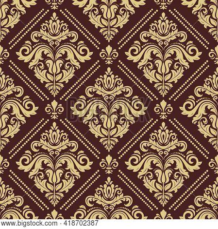 Classic Seamless Golden Pattern. Damask Orient Ornament. Classic Vintage Background. Orient Ornament