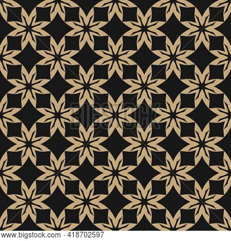 Simple Vector Floral Geometric Seamless Pattern. Elegant Gold And Black Ornament Texture With Flower