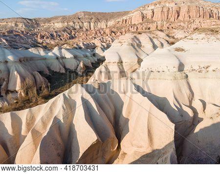 Amazing Cappadocia Landscape In Cappadocia Travel, Aerial View. Adventure In Turkey Tourist Destinat