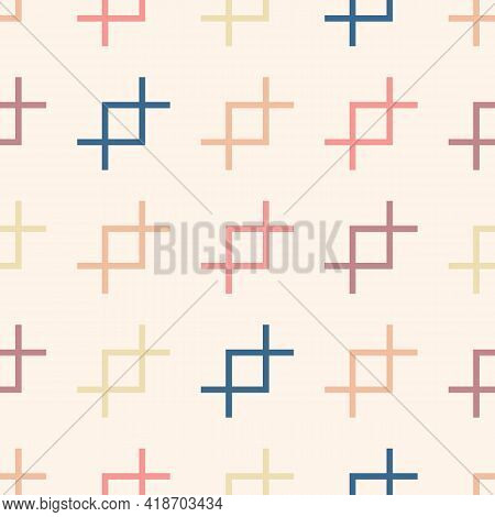 Vector Abstract Geometric Seamless Pattern. Simple Minimal Texture With Colorful Linear Shapes On Wh