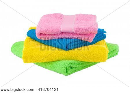 Towel isolated on white background. Stack of colorful towels