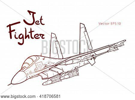Flight Of The Newest Russian Jet Fighter Aircraft. Vector Freehand Draw. Black Lines Isolated On Whi