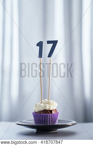 Tasty Homemade Chocolate Creamy Cupcake Or Muffin With Topping And Number 17 Seventeen And Bright Ba