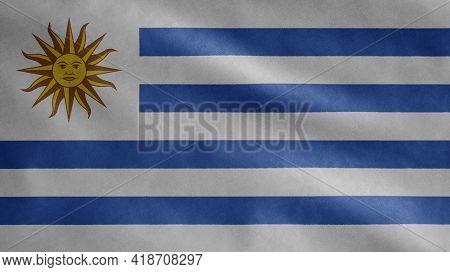 Uruguayan Flag Waving In The Wind. Uruguay Banner Blowing Soft Silk.