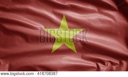 Vietnamese Flag Waving In The Wind. Close Up Venezuela Banner Blowing Soft Silk.