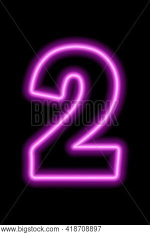 Neon Number 2 On Black Background. Learning Numbers, Serial Number, Price, Place. Vector Illustratio