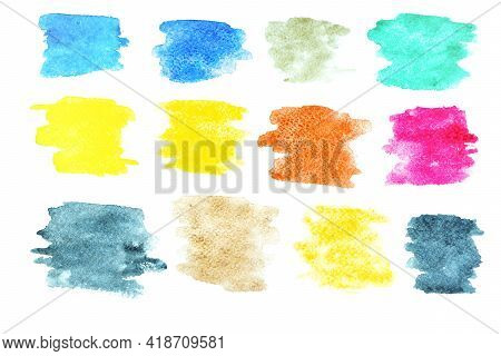 Watercolour Background. Abstract Watercolor Paint Pattern Set Isolated On Water Color Paper Texture.