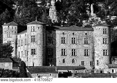 Stone Castle And Rocks In The Medieval Town Of Vogue In France, Monochrome