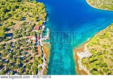 Katina Island Narrow Sea Passage In Kornati Islands National Park Aerial View, Archipelago Of Dalmat