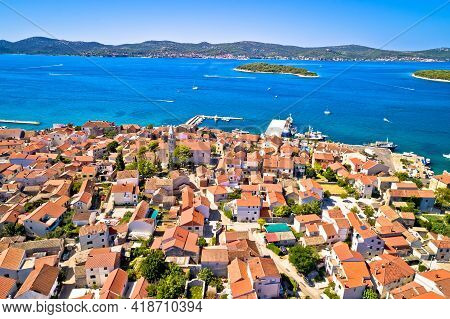 Biograd Na Moru Historic Coastal Town And Pasman Island Aerial View, Dalmatia Archipelago Of Croatia