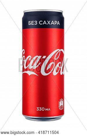 Moscow, Russia - April 07, 2021: Coca-cola Sugar Free In Red Aluminum Can With Black Stripe Isolated