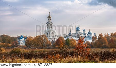 Panoramic View Of The Yuriev (st. George) Monastery, Novgorod The Great, Russia. Autumn Landscape