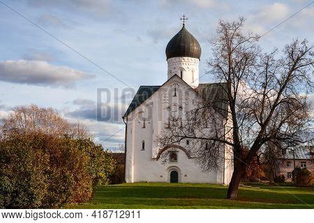 Church Of The Transfiguration Of The Savior On Ilyina Street, Veliky Novgorod, Russia. Built In 1374