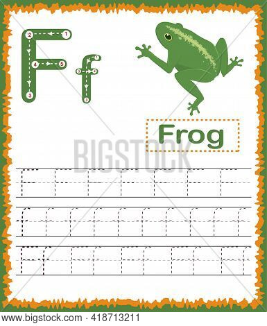 Vector Illustration Of Exercises With Cartoon Vocabulary For Kids. Colorful Letter F Uppercase And L