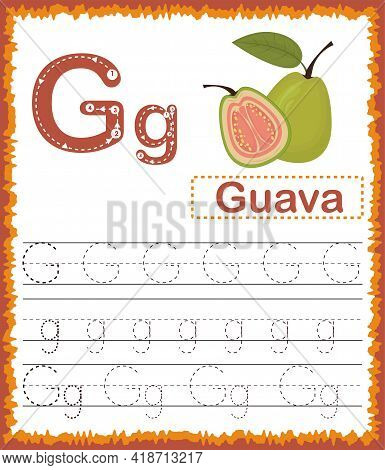 Vector Illustration Of Exercises With Cartoon Vocabulary For Kids. Colorful Letter G Uppercase And L
