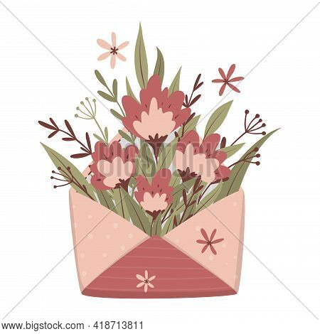 Opened Craft Envelope With Flowers Arrangement. Flat Lay, Top View. For Greeting Card, Invitation, T