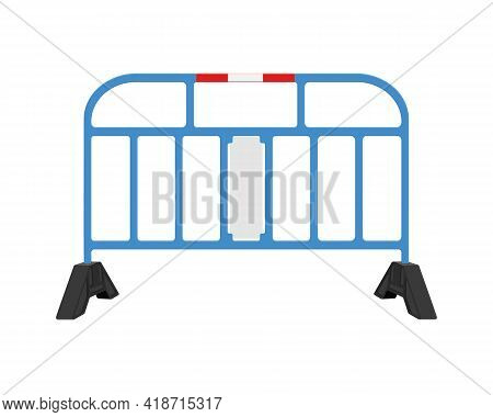 Traffic Barrier. Blue Road Obstacle Isolated On White Background. Warning Under Construction Sign. W