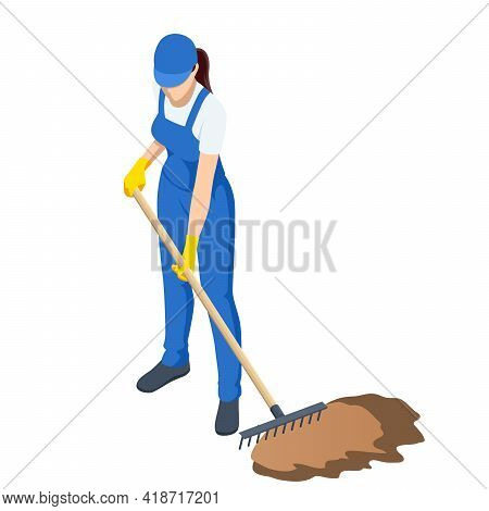 Agricultural Work. Woman Working In Garden With Rake Leveling Ground. Soil Preparation For Seeding A