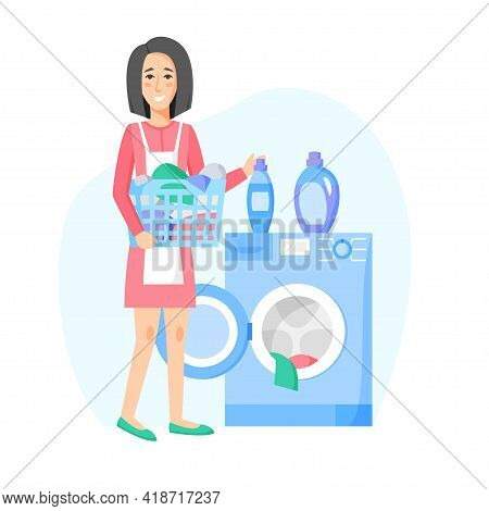 Woman Doing Laundry. Happy Housewife Washing Clothes. Washing Machine And Laundry Basket With Clothe