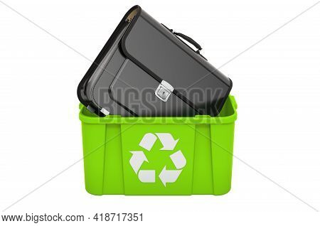 Recycling Trashcan With Briefcase. 3d Rendering Isolated On White Background