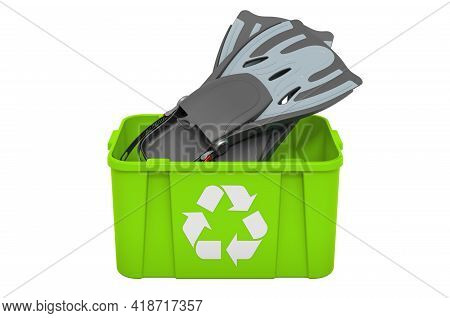 Recycling Trashcan With Flippers, Swimfins. 3d Rendering Isolated On White Background