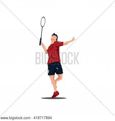 Sport Man Badminton Player Smashing The Ball - Badminton Athlete Are Playing Attack With Smashing Sh