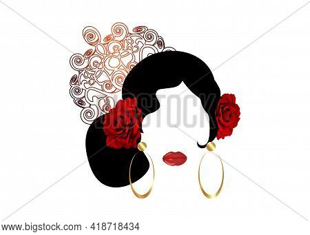 Portrait Of Flamenco Woman Beautiful Girl, Spanish Style. Latin Lady Wearing Gold Folk Accessories P
