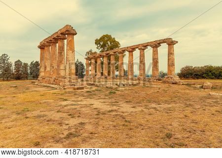 Temple of Hera from 6 century BC, archaeological site near Bernalda, Italy