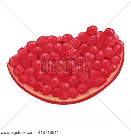 Half Of Pomegranate Hand Drawn And Realistic Style On White Background, Isolated Red Fruit Whole, Ha