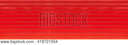 Panorama Of Red Corrugated Metal Background And Texture Surface Or Galvanize Steel
