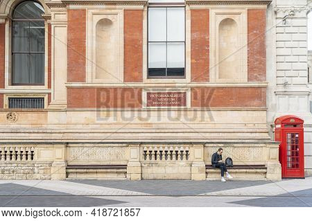 July 2020. London. People By The Victoria And Albert Or V And A Museum, London, England