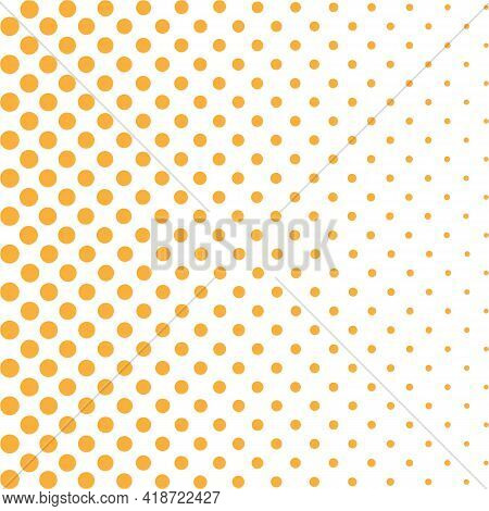 Orange Halftone Pattern - Bright Disco Background With Orange Spots On Yellow