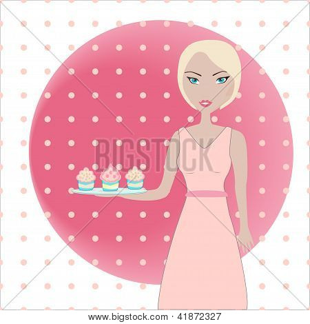 Illustration of a cute girl holding a tray with cupcakes