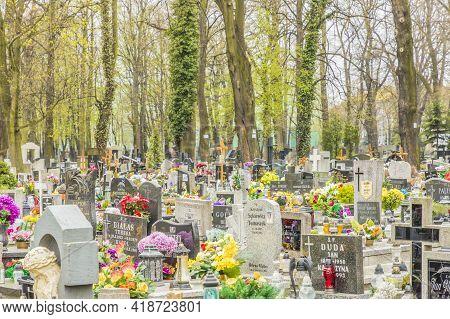 Katowice Poland. April 2019. Cemetery In Katowice, Silesian Poland Europe