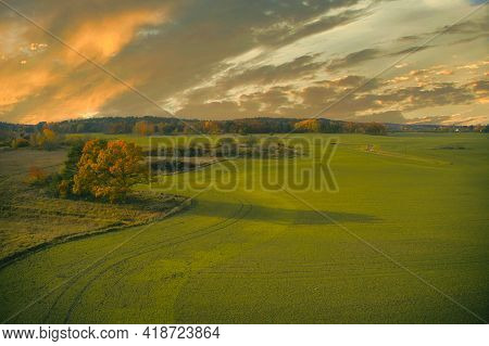 Stockholm Ekero - Aerial View Of A Autumn Field 20-09-01. High Quality Photo
