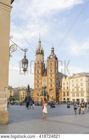Krakow Poland August 2020. St Marys Basilica, Krakow, Old Town, Lesser Poland, Poland