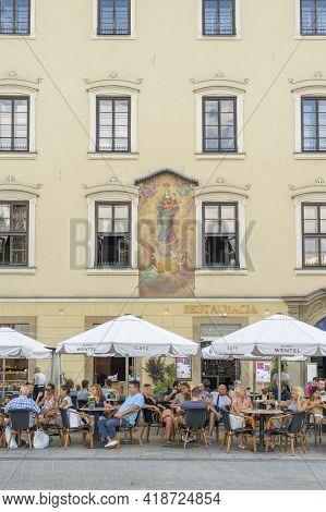 Krakow Poland August 2020. Restaurant Scene, Krakow, Old Town Poland