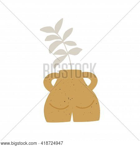 Trendy Ceramic Yellow Vase With Plant Vector Illustration. Leaf In Pot Composition. Contemporary Art