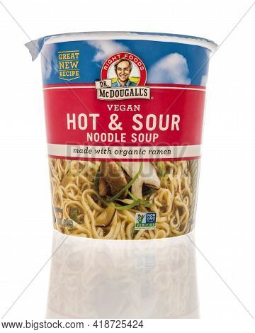 Winneconne, Wi - 22 April 2021:  A Package Of Dr Mcdougalls Vegan Hot And Sour Noodle Soup On An Iso