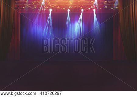 Blurred Empty Theater Stage With Fun Colourful Spotlights, Abstract Image Of Concert Lighting  Illum