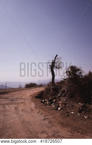 Dusy Road On Top Of Mountain Himachal Pradesh India.