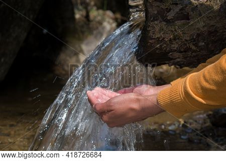 Boy Collecting Water To Drink With His Hands Pouring Out From Water Pipe Made Of Pine Tree Logs