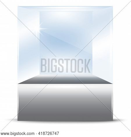 3d Mockup With Glass Showcase Form Cube. Interior Design. Vector Illustration. Stock Image. Eps 10.