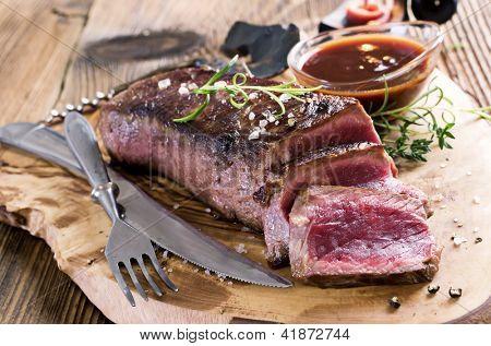 steak with sauce