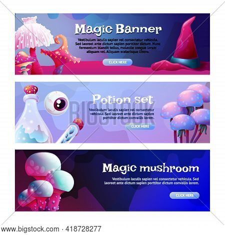 Set Of Horizontal Banners Colorful Fantasy Magic Mushrooms. Fungus And Unrealistic Uneartly Shiny Al