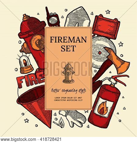 Firefighting Vintage Elements Poster, Vintage Style. Finished Label With Design Template Elements. E