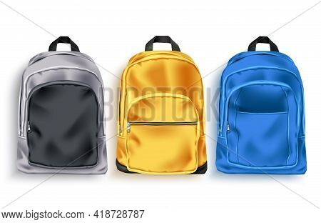 School Bag Vector Set. School Backpack And Baggage 3d Collection In Gray, Yellow And Blue Color For